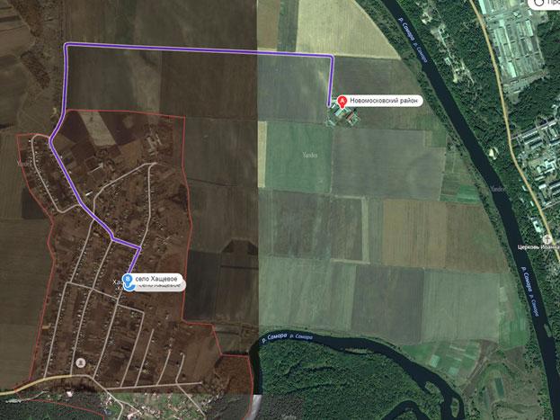 расположение объекта относительно центра с.Хащевое и реки Самара